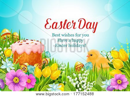 Easter Day greeting card of paschal cake and eggs and chick in spring flowers lily, tulip and springtime snowdrops. Happy Easter wishes template for Resurrection Sunday religion holiday