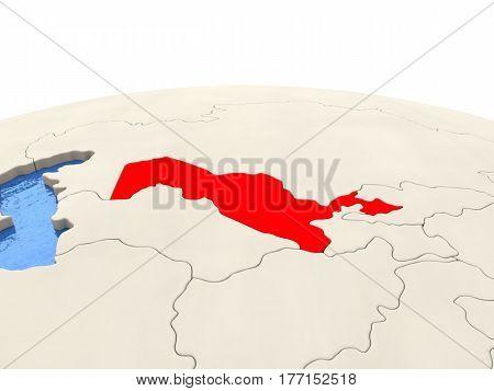 Uzbekistan On Globe With Watery Seas