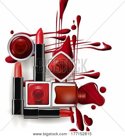 Red nail Polish drops in with red lipstick. Template vector illustration