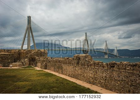 View to Rio-Antirio bridge on Peloponnese in  Greece