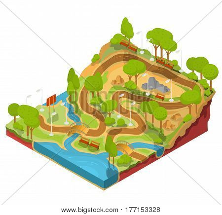 Vector 3D isometric illustration of cross section of a landscape park with a river flowing there, bridges, benches and lanterns. Soil in the section for the study of geological layers.