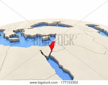 Israel On Globe With Watery Seas