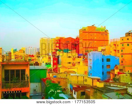 Ho Chi Minh city or Saigon, Vietnam. Blurred in postproduction image. Sunset