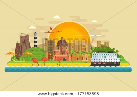 Travel summer island landscape in flat design inspired by Cagliari, Sardinia. Sunset at seaside background with green hills, lighthouse, sand beach, ancient city, pink flamingos and cruise ship.
