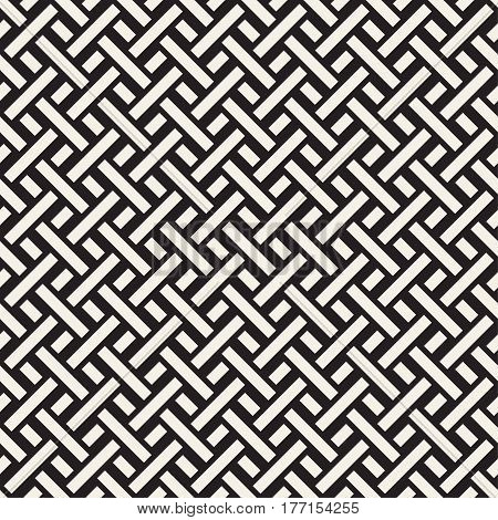 Trendy monochrome twill weave. Abstract Geometric Background Design. Vector Seamless Black and White Pattern.
