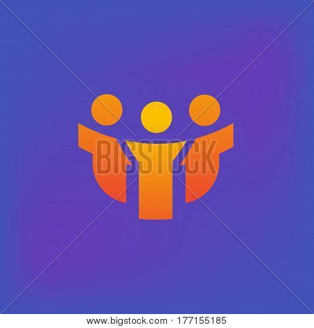 Vector icon or illustration showing people communication as three friends company in brutalism style