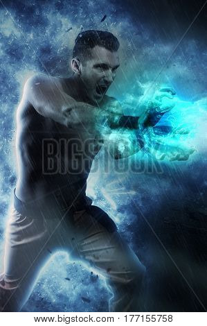 superhuman making an energy blast with his hands