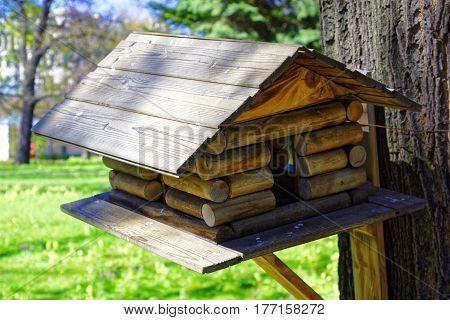 birdhouse on the tree. Wooden house bird feeder.
