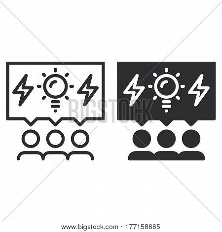 Brainstorming people line and solid icon outline and filled vector sign linear and full pictogram isolated on white. Brainstorm symbol logo illustration