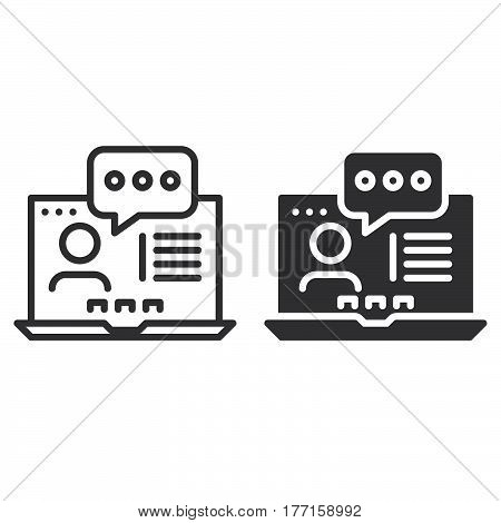 Online consulting line and solid icon outline and filled vector sign linear and full pictogram isolated on white. Symbol logo illustration