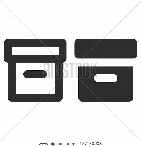 Office File Box thick line and solid icon outline and filled vector sign linear and full pictogram isolated on white. Archive symbol logo illustration