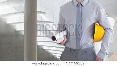 Digital composite of Architect Torso against a white stairs background