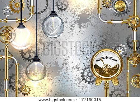 Industrial gray background with antique measuring instrument and round electric bulbs. Design with gears. Steampunk style. Industrial design.