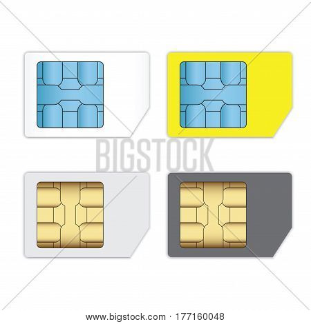 SIM cards for mobile phones isolated on white Mobile and wireless communication technologiesNetwork chip electronic connection flat design illustration.