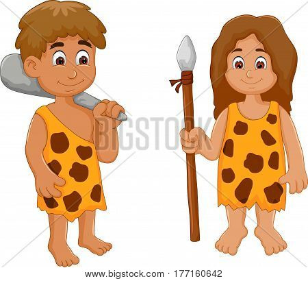 cute couple ancient human cartoon for you design