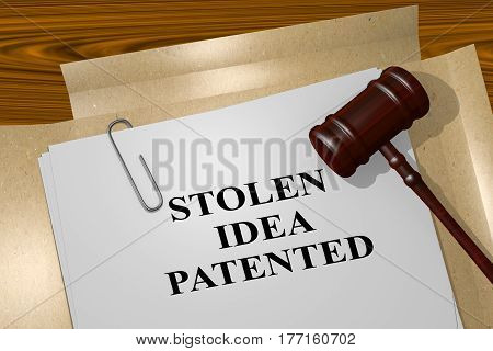 Stolen Idea Patented - Legal Concept