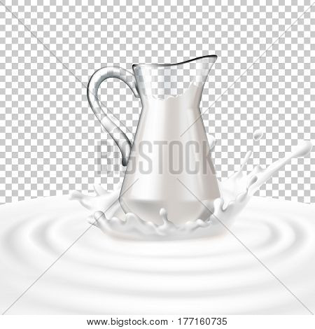 Vector illustration of a glass jug with milk standing in the center of a dairy splash. Template advertising poster in a realistic style for natural high-quality milk