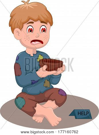 beggar man cartoon holding a bowl for you design