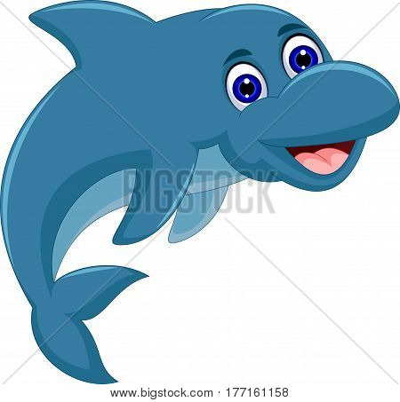 cute Cartoon dolphin jumping for you design