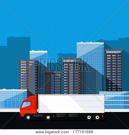 Cargo truck delivers orders. Freight transportation illustration.