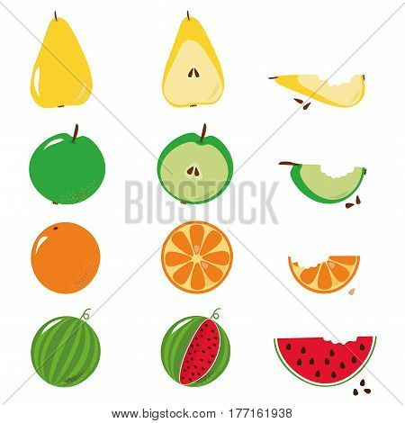 Bitten fruits sequence illustration over white background. Apple, pear, orange, watermelon. Vector available.