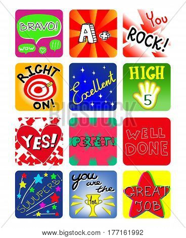 Achievement school Labels, kindergarten encourage reward stickers. Vector available