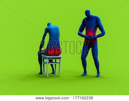 Man Feeling Stomachache And Man Having Hemorrhoid. 3D Rendering