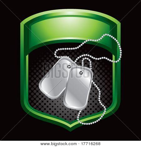 dog tags green shiny display