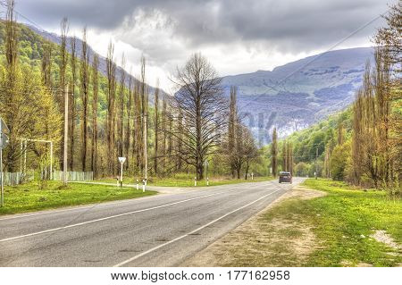 Mountain road near the city of Nalchik. Caucasus Mountains