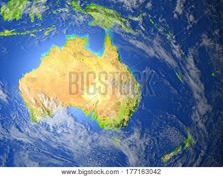Australia And New Zealand On Planet Earth