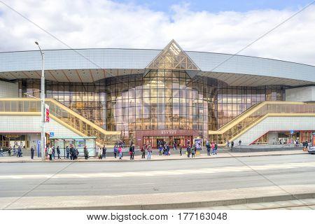 MINSK BELORUSSIA - March 11.2017: Modern building of the municipal railway station