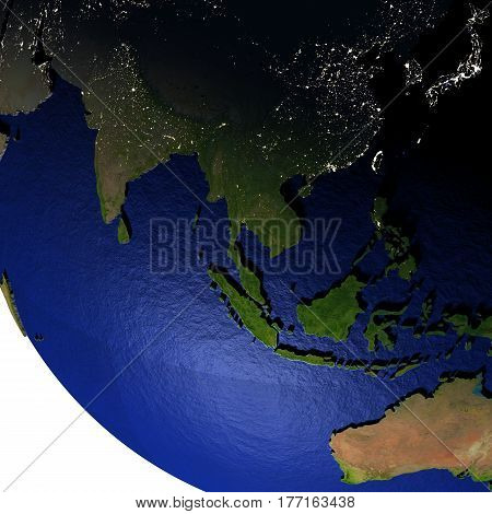 Southeast Asia At Night On Model Of Earth With Embossed Land