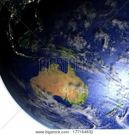Australia On Realistic Model Of Earth