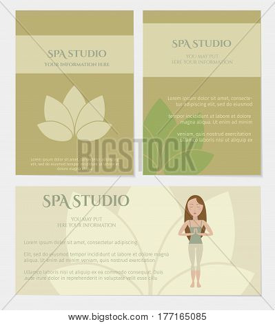 Set of spa studio business cards in natural colors with lotus icon. Vector eps10