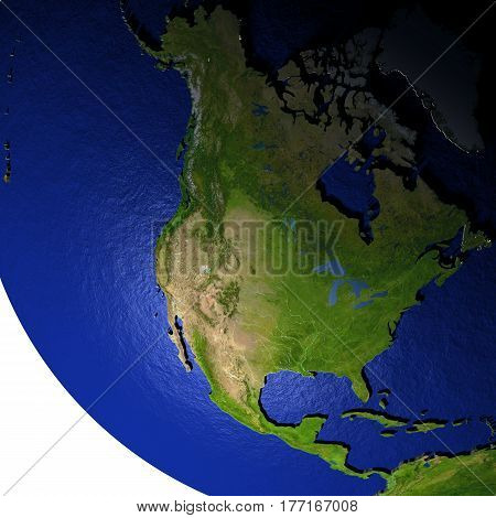North America At Night On Model Of Earth With Embossed Land