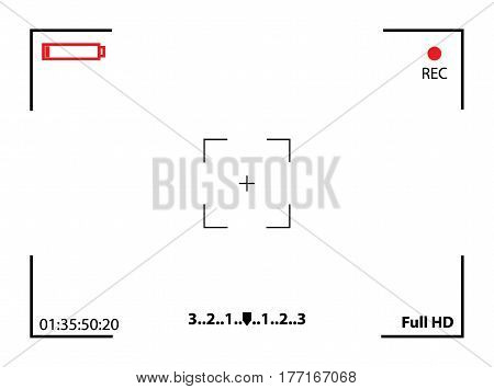 Camera viewfinder. Template focusing screen of the camera. Viewfinder camera recording. Video screen on a white background. vector illustration