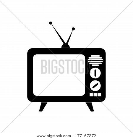 TV old vector illustration in black color on a white background