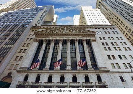NEW YORK CITY - APRIL 5: New York Stock Exchange closeup on April 5 2016 in Manhattan New York City. It is the world's largest stock exchange by market capitalization of its listed companies.