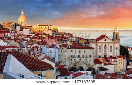 Nice view of Lisbon Portugal at a sunrise