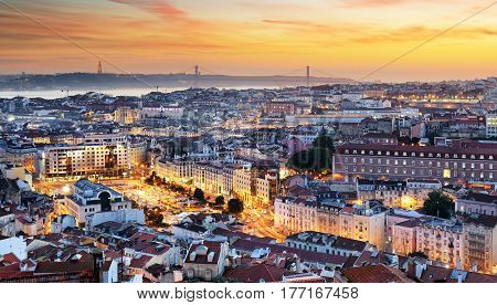 Aerial view of Lisbon at sunset in Porugal