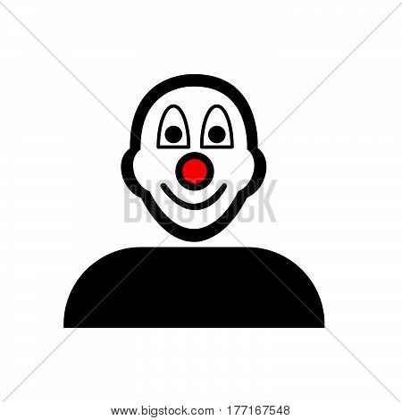Flat Black Clown Face Emoticon Icon