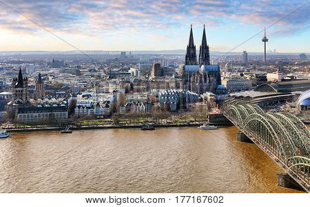 Aerial view of Cologne Germany at dayt