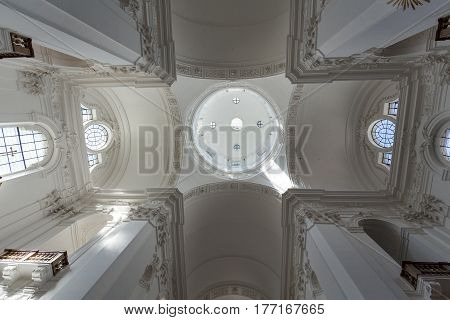 SALZBURG AUSTRIA - APRIL 29 2016: Interior of Collegiate or University Church in Salzburg Austria