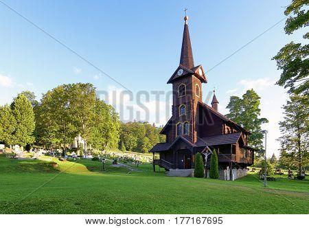 Wooden church Tatranska Javorina High Tatra Mountains Western Carpathians Slovakia