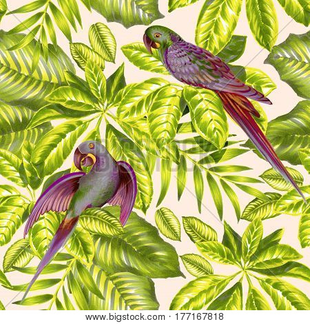seamless tropical pattern with blue parrots. Fresh modern wall paper with love birds. blue parakeets and palm leaves