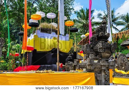 Offerings to the gods in the Tirta Empul Temple in Bali Indonesia