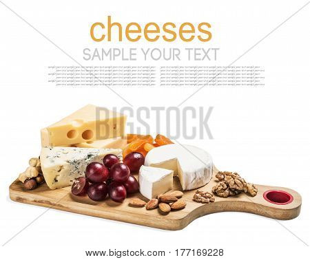 Assorted fresh cheese isolated on white background. Delete text