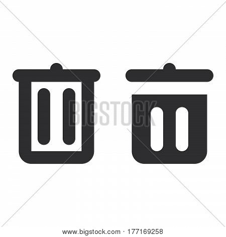 Trash can recycle bin thick line and solid icon outline and filled vector sign linear and full pictogram isolated on white. Delete symbol logo illustration