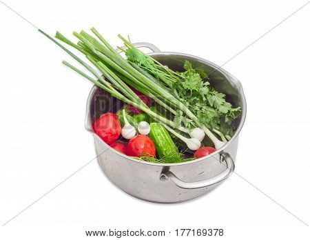 Different washed vegetables and potherb with drops of water in the stainless steel pot on a light background