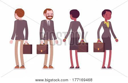 Set of young male and female teacher in a strict formal wear, standing pose, professional worker in education or training, showing enthusiasm, full length, front, rear view, isolated, white background